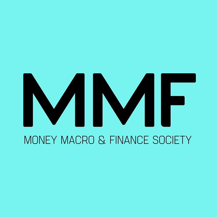 MMF in large letters, with Money Macro & Finance Society written below it in smaller text on a bright turquoise background.
