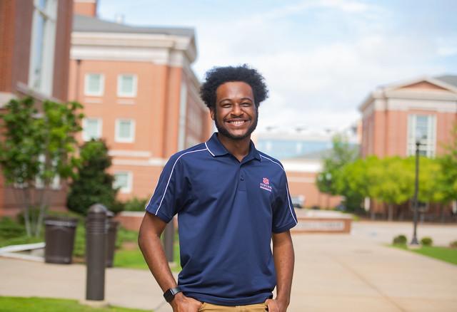 Jailin Sanders stands outside engineering buildings on the Auburn University campus