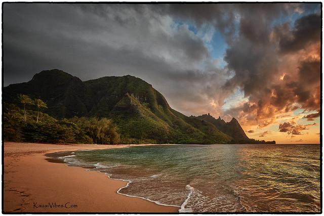 Sunset at Tunnels Beach, Kauai.