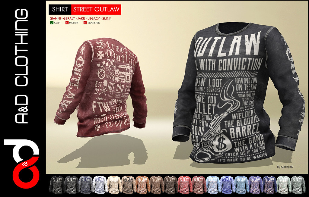 ! A&D Clothing – Shirt -Street Outlaw- NEW RELEASE