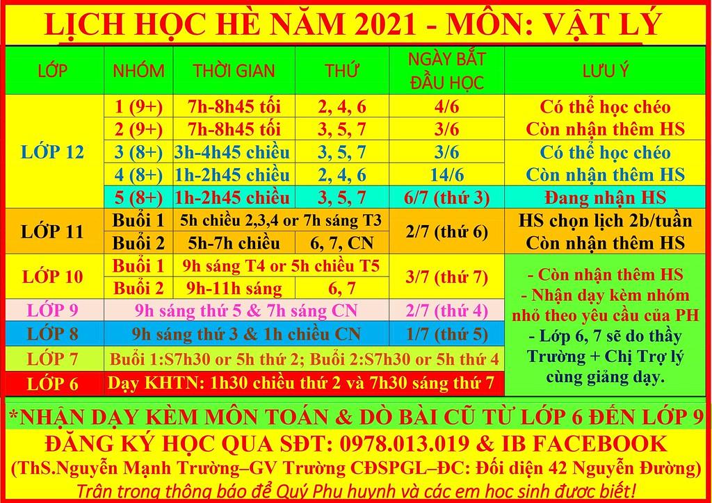 LỊCH HÈ 8-7-2021