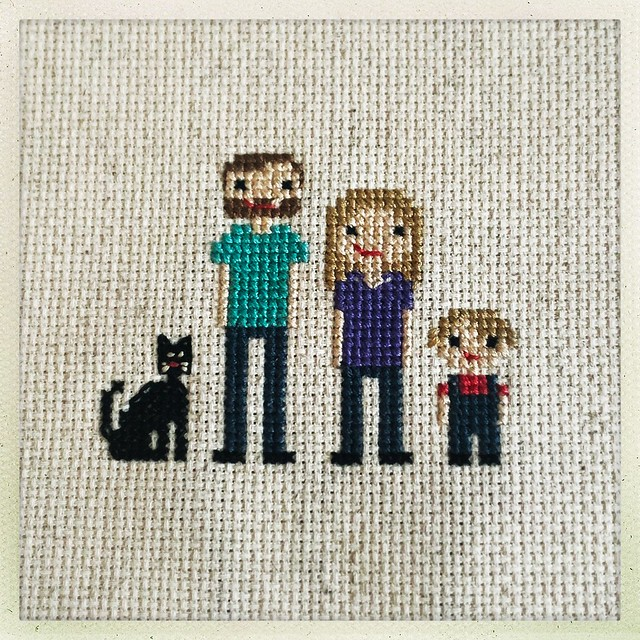 Cross Stitch Family Portrait