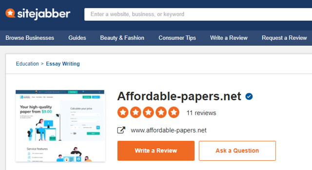 Affordable-Papers review on SiteJabber