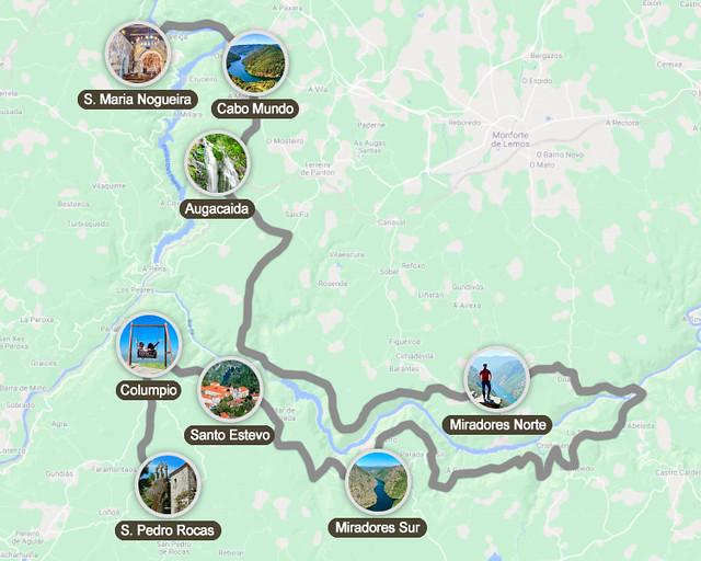 Mapa de ruta por la Ribeira Sacra en coche