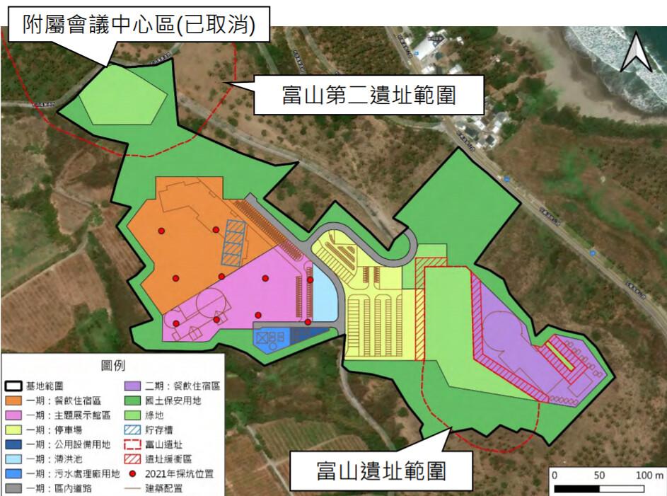 黃金海渡假村位於富山遺址與富山二遺址之間。圖片來源:環評書件