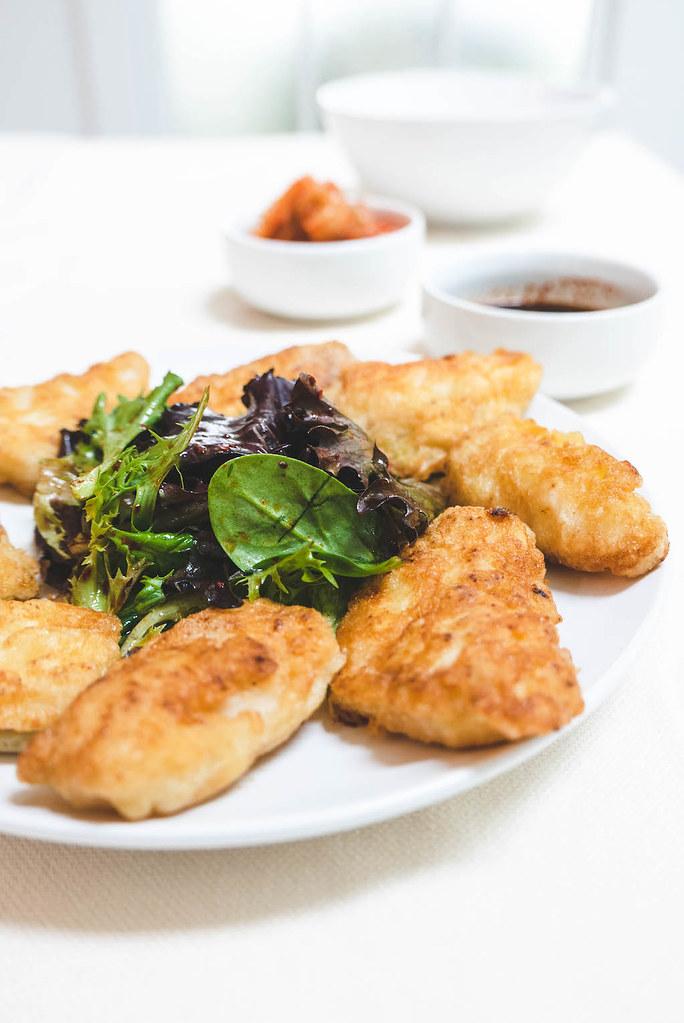 A side shot of Korean fish pancake.