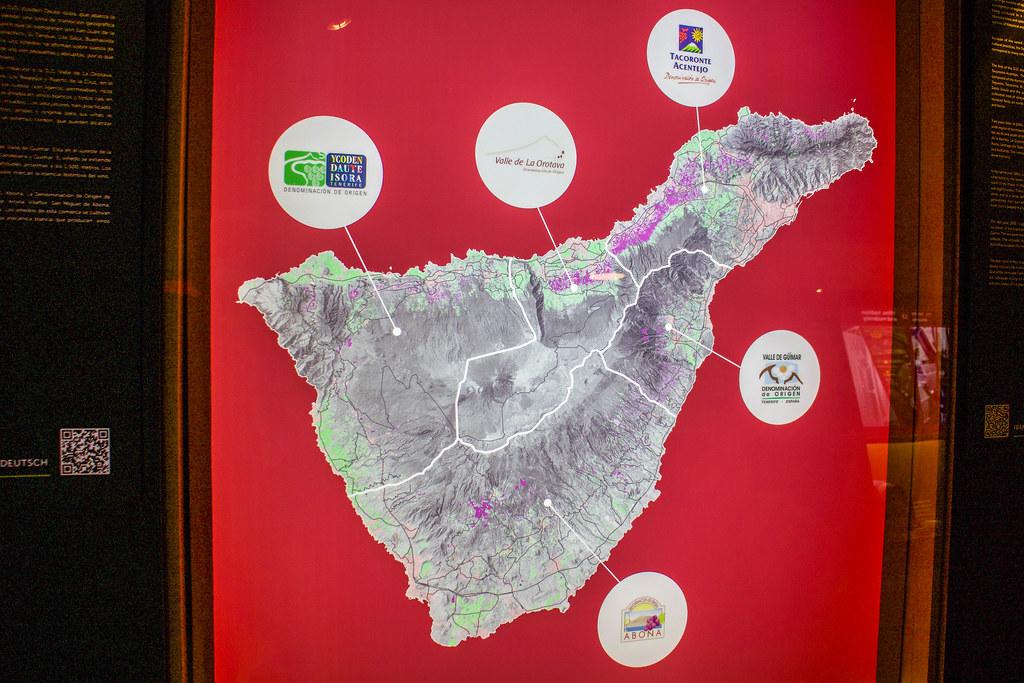 Mapa de Tenerife con las 5 denominaciones de origen de vino