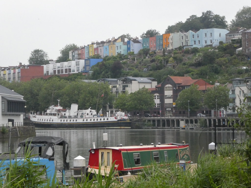 Colourful cottages overlooking Bristol harbour