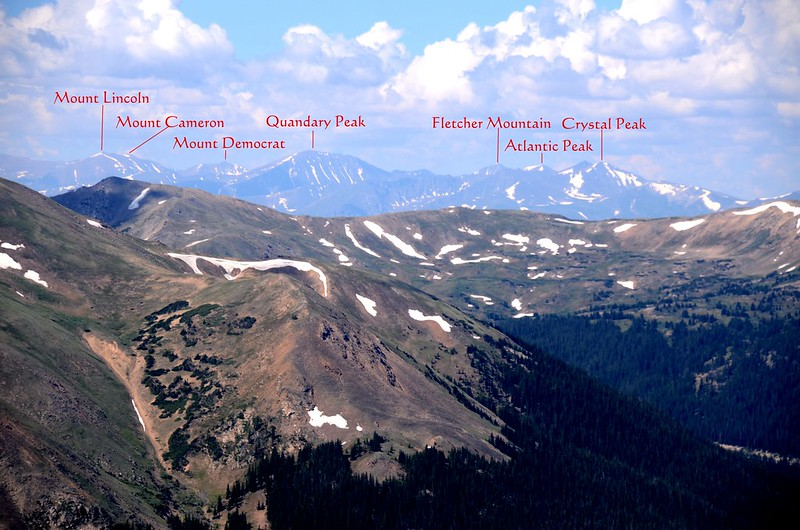 Looking southwest at mountains from the saddle between Mount Parnassus & Woods 2