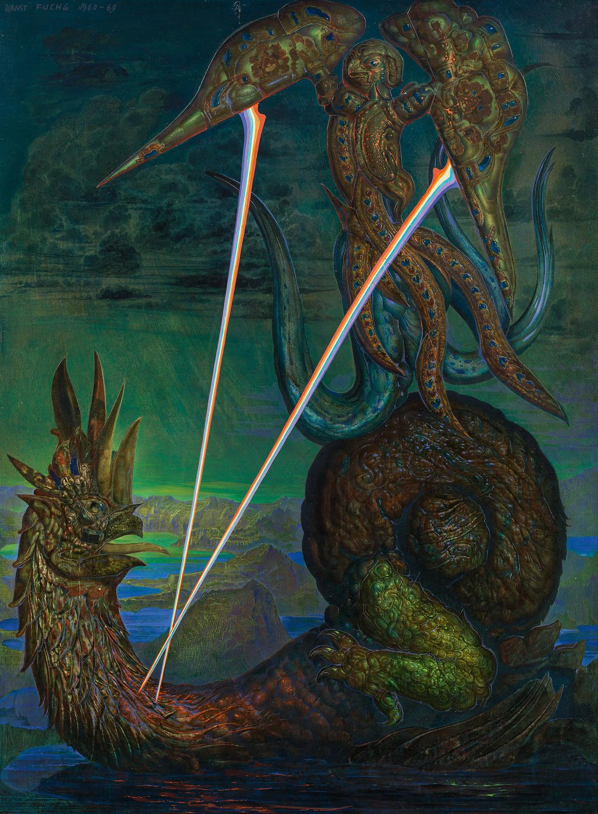 Ernst Fuchs - Griffin and Dragon, 1960-69