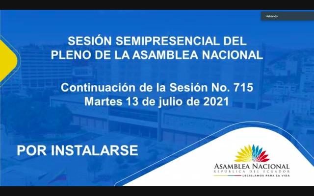 CONTINUACIÓN DE LA SESIÓN NO. 715 DEL PLENO DE LA ASAMBLEA NACIONAL (SEMIPRESENCIAL). ECUADOR, 13 DE JULIO DEL 2021
