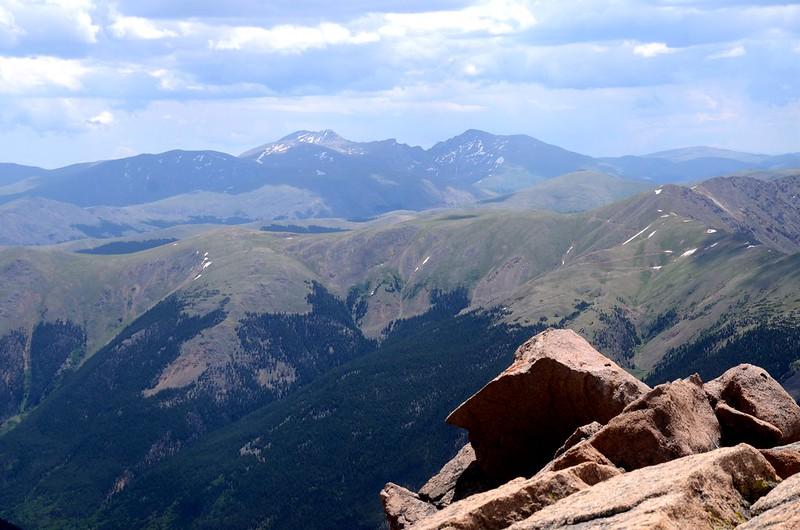 Mount Evans(L) & Bierstadt(R) as seen from Parnassus' summit