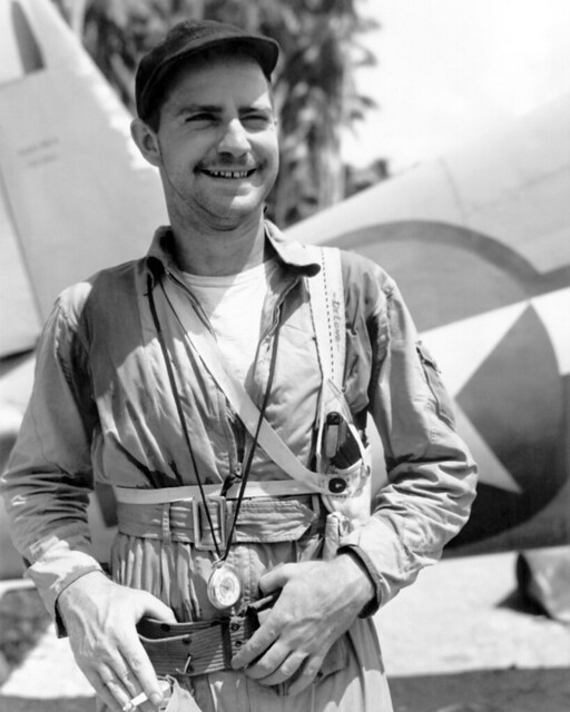 US Marine Corps fighter pilot 1st Lieutenant Philipp C Delong near the F4U Corsair aircraft at the Vella Lavellla airfield in the Solomon Islands 24th November 1943.