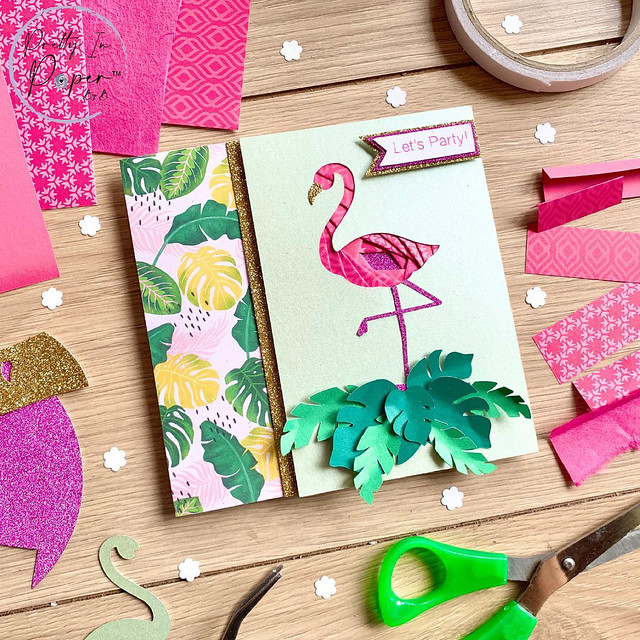 Flamingo Iris Folded Card
