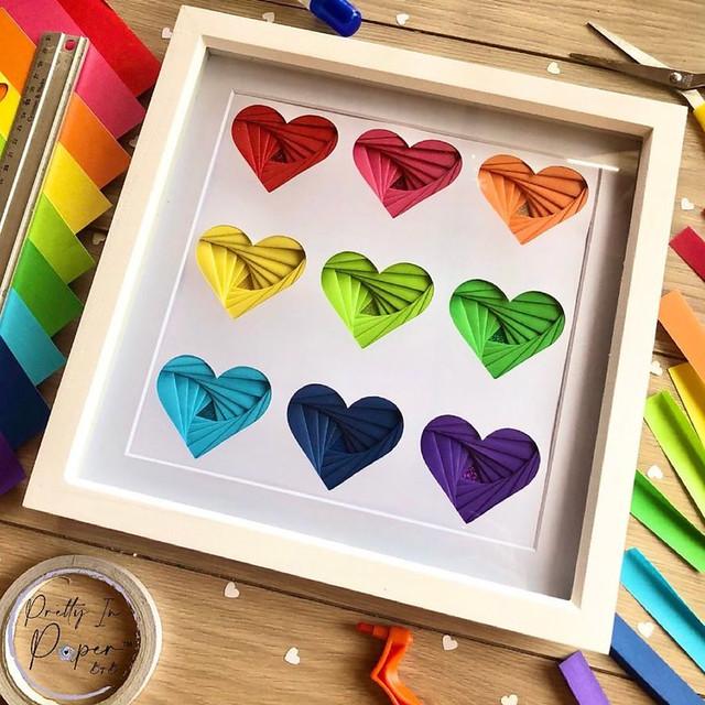 Iris Folded Rainbow Hearts Framed Art