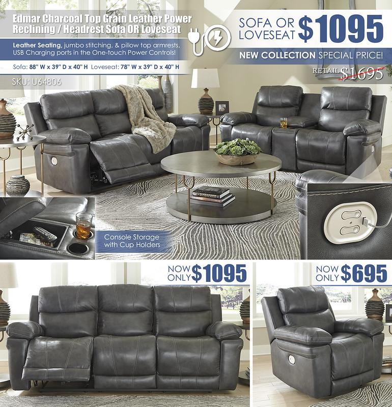 Edmar Charcoal Leather Power Reclining Sofa OR Loveseat_U64806-MOOD-H