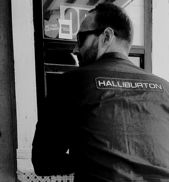 Halliburton employee at a take-out window