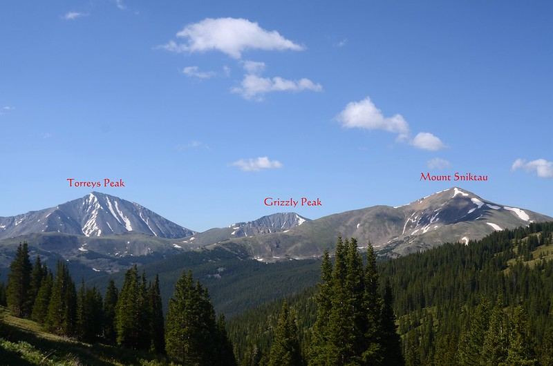 Looking south at Mount Sniktau & Torreys Peak from Mount Parnassus trail near 11,627' (2)