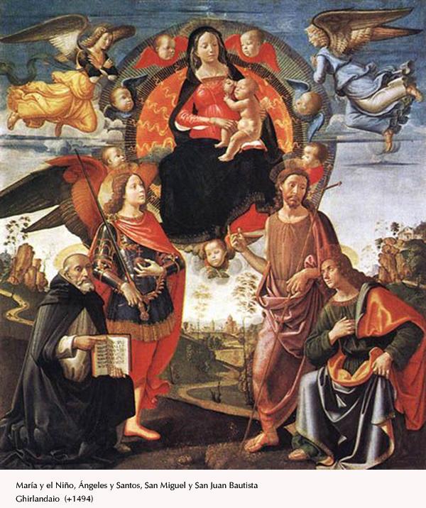 Ghirlandaio - Virgen y Niño, ángeles y santos