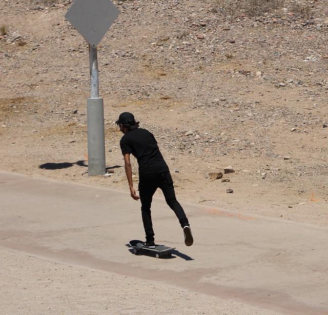 Skateboarding by the Lake