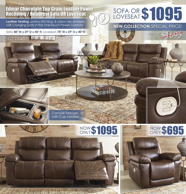 Edmar Chocolate Leather Power Reclining Sofa OR Loveseat_U64805-MOOD-H