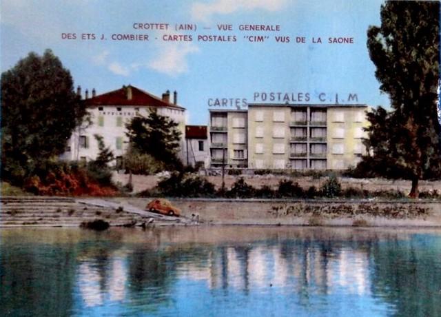 01 - CROTTET - Vue générale des Ets COMBIER, cartes postales CIM vus de la Saone