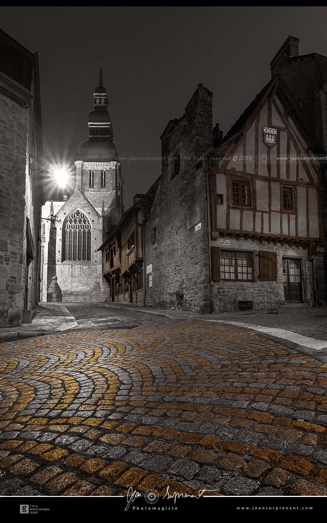 Basilique Saint-Sauveur de Dinan at night DRI
