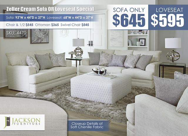 Zeller Cream Sofa OR Loveseat_4470_July2021