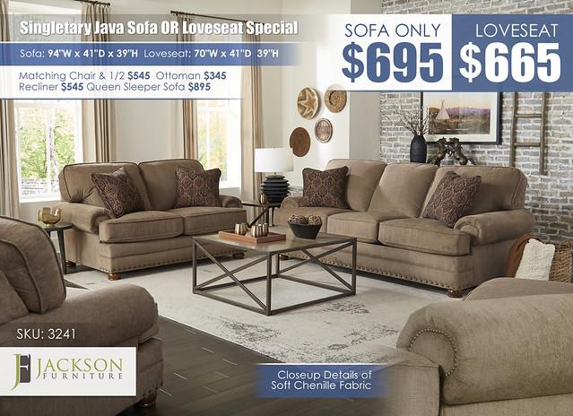 Singletary Java Sofa OR Loveseat_3241_July2021