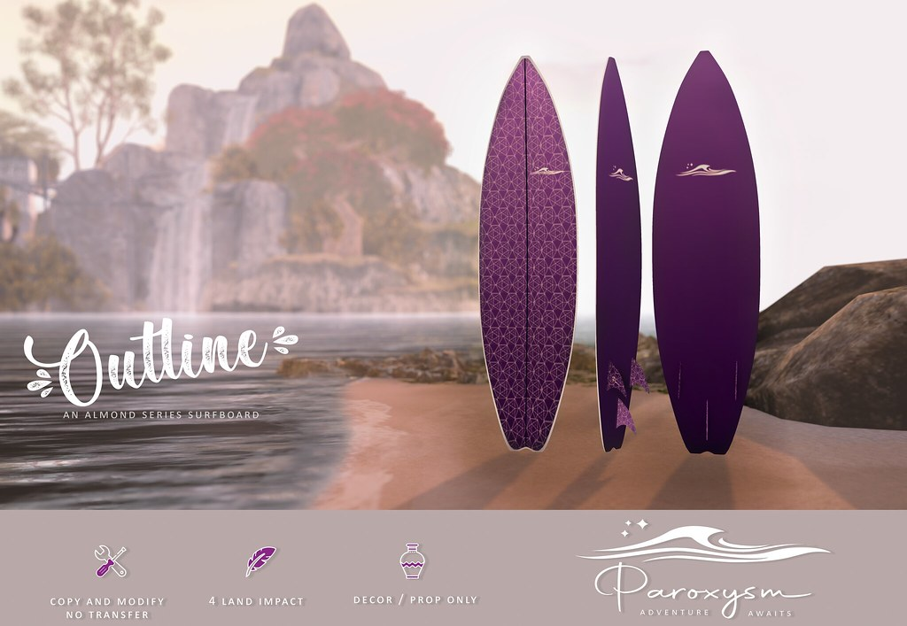 "PAROXYSM. ""Outline"" Surfboard  (Purple)"