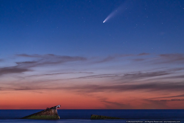Comet NEOWISE over the wreck of the S. S. Atlantus
