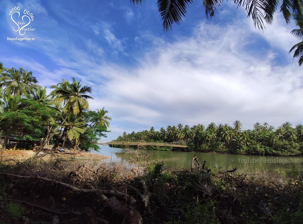 Distant view of Kemmannu Hanging Bridge