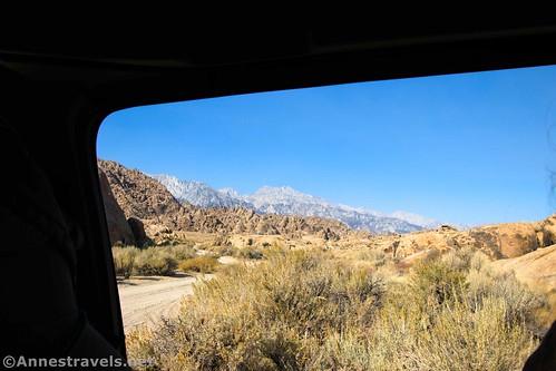 Views out the window of the van near where I began my trek, Alabama Hills National Scenic Area, California