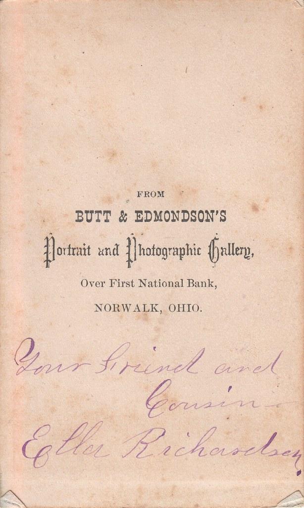 CDV_oval portrait of Ella Richardson, Norwalk, Ohio (back)
