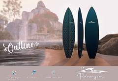 """PAROXYSM. """"Outline"""" Surfboard  (Blue)"""