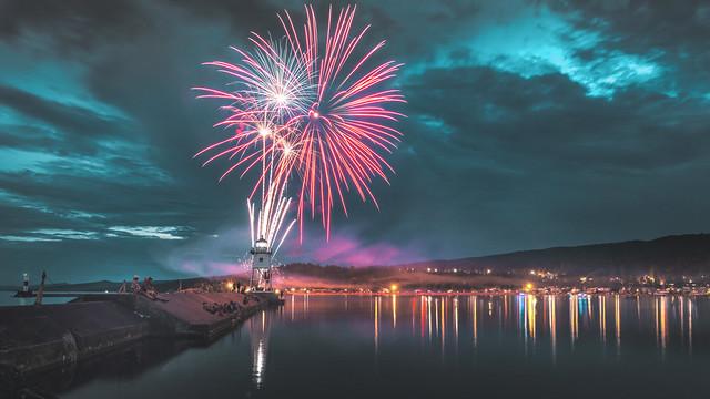 fireworks, 4th of july, grand marais, minnesota