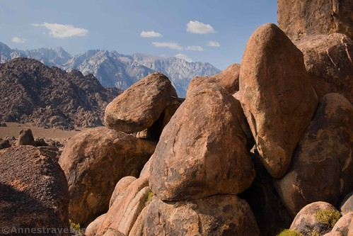 Boulders and the High Sierras (that's Mt. Whitney on the left).  Alabama Hills National Scenic Area, California