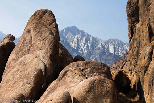 Lone Pine Peak from between the rocks, Alabama Hills National Scenic Area, California