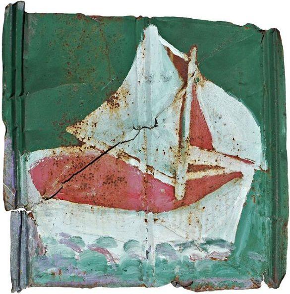 SamDoyleSailboatC1960sHousePaintOnMetal