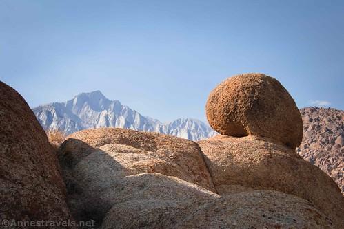 Lone Pine Peak and a round rock, Alabama Hills National Scenic Area, California