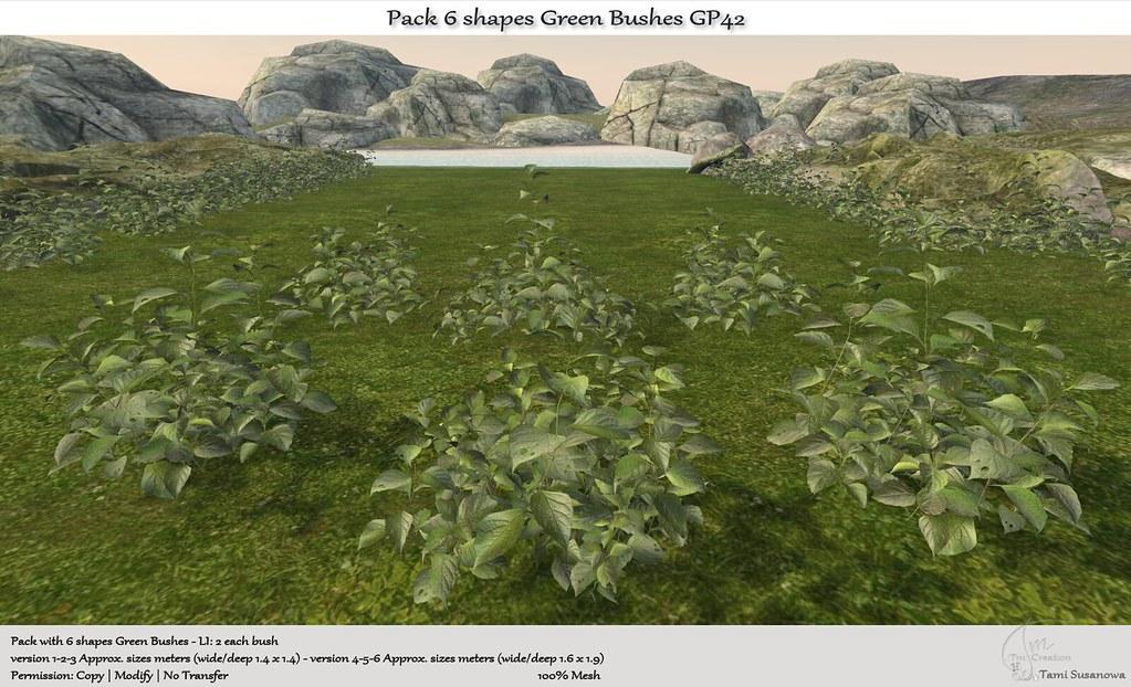 .:Tm:.Creation Pack 6 shapes Green Bushes GP42