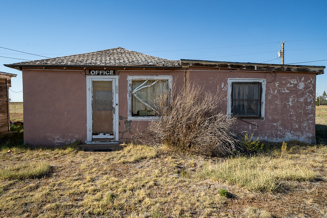 Old abandoned motel office located along Route 66, in the New Mexico desert town of San Jon