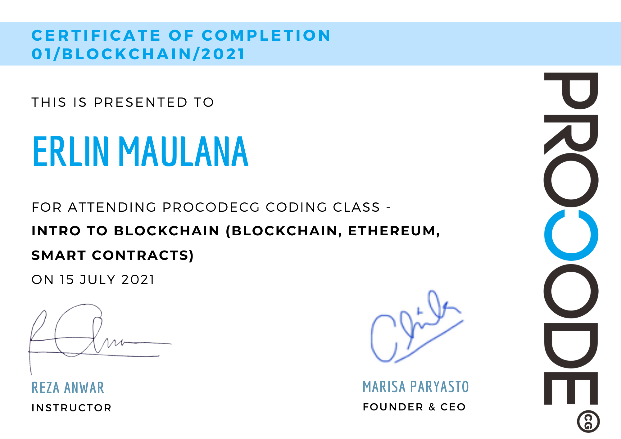 Blue Sidebar Photo Completion Certificate