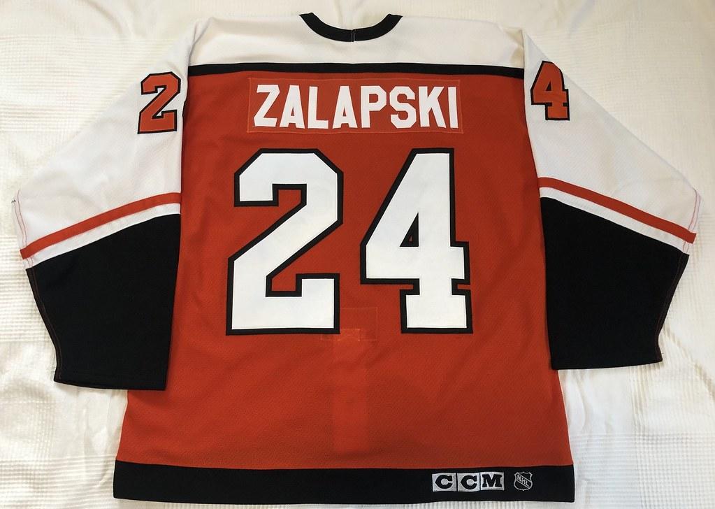 1999-2000 Zarley Zalapski Philadelphia Flyers Authentic Away Jersey Back