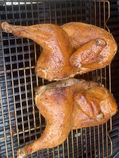 BBQ Chicken: salt, pepper, & applewood smoke.