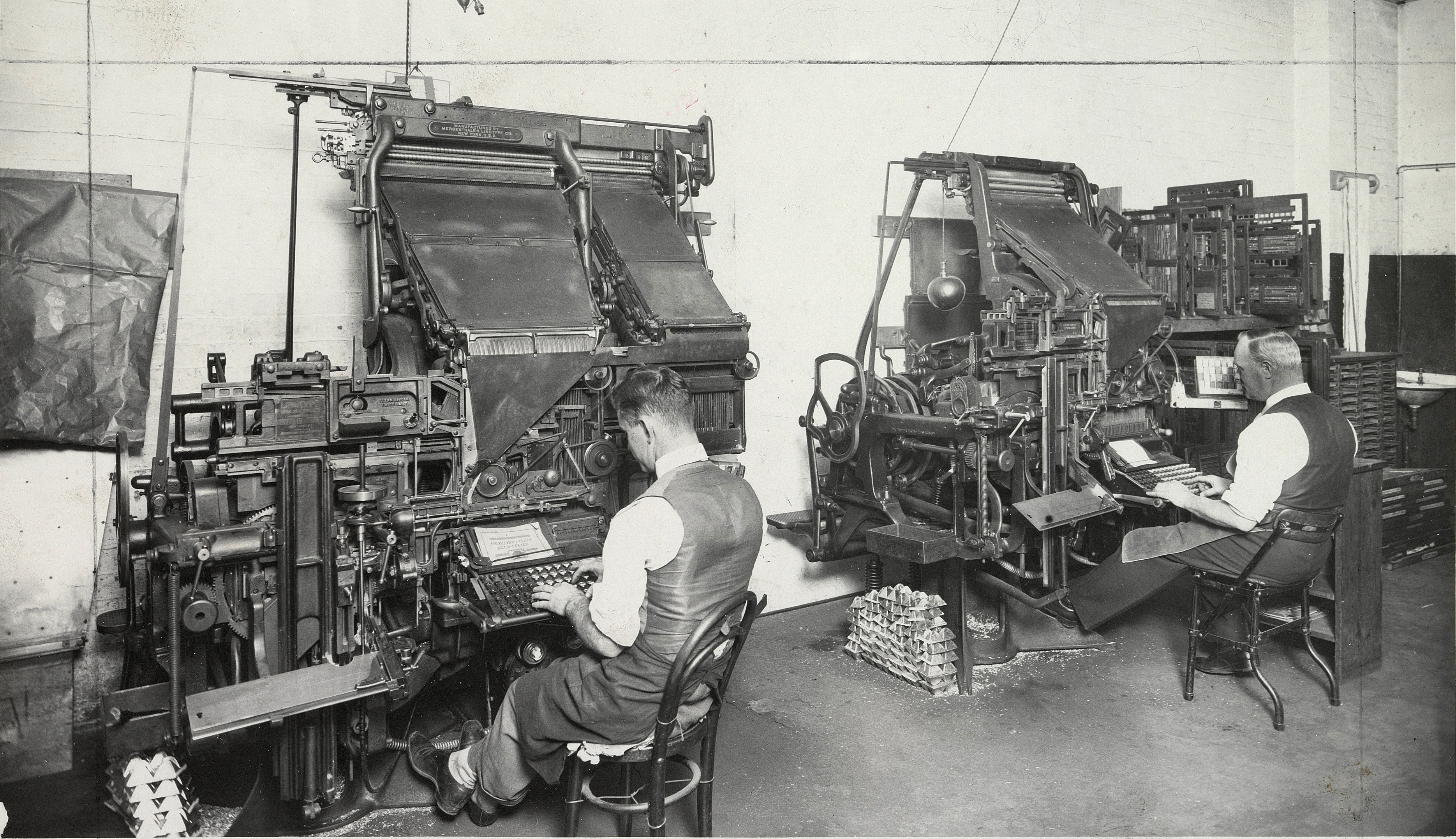 Linotype machines, Anthony Hordern and Sons department store, c. 1935