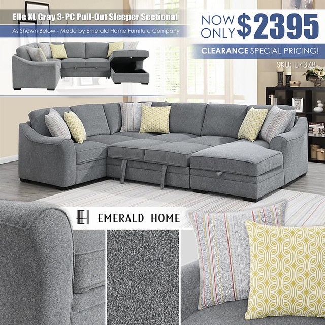Elle XL Gray 3PC Pull Out Sleeper Sectional_EmeraldHome_U4378-11-12-16-03-K_9-Z_July2021