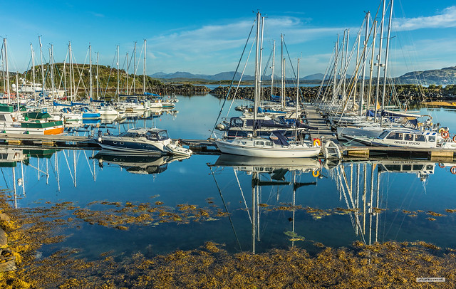 A splendid marina called Craobh Haven, near Ardfern, on the Argyll coast, with views north to the Isle of Mull and Ben More.