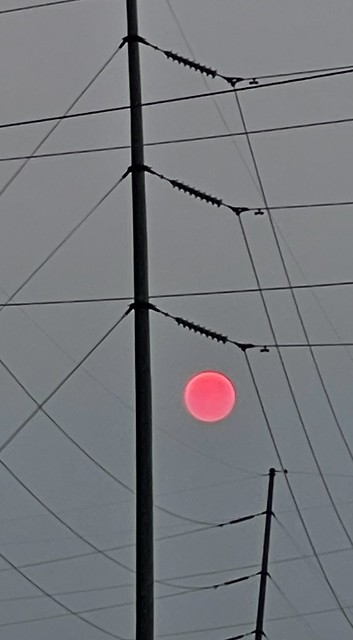 Sunset through the smoke of the Canadian wildfires