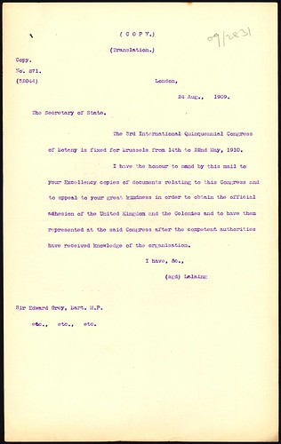 <p>On August 24 1909 a request was made to the Secretary of State for the Colonies in London, to see if the UK and its colonies would send representatives to the 3rd Quinquennial Conference on Botany. NZ did not send a representative.<br /> <br /> Archives New Zealand Reference: ACGO 8333 IA1 1909/2381<br /> <br /> Material from Archives New Zealand Te Rua Mahara o te Kāwanatanga</p>